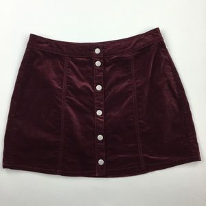 Brandy Melville wine corduroy snap front skirt L